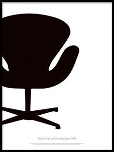 Swan chair poster i svartvitt. Fin i vardagsrummet. Affisch med svartvit grafiskt motiv av Swan chair, Stol designad av Arne Jacobsen. En tavla för dig som uppskattar riktigt bra design.