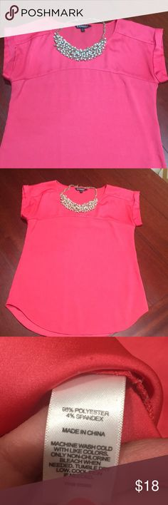 Express coral party top - Reposh * Express coral party top - * see last pic small mark/stain hardy noticeable Express Tops Blouses