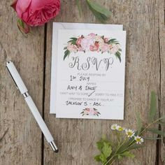 These Ginger Ray Floral Boho Wedding RSVP Cards feature floral designs and a 'R. Friends and family will be excited to see you tie the knot when they receive these cards in the mail! Wedding Wands, Wedding Rsvp, Wedding Stationery, Boho Wedding, Floral Wedding, Wedding Invitations, Wedding Store, Wedding Ideas, Wedding Ceremony Supplies