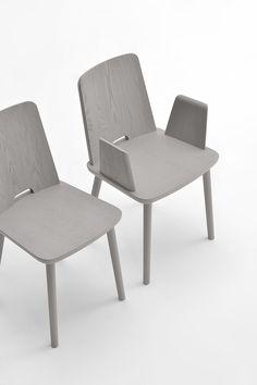 sedia Tablet in legno faggio colore grigio per interno arredo design