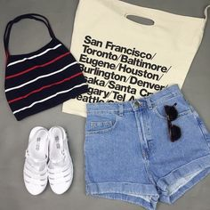 Crop top, denim shorts, white shoes all from American apparel ///Pinterest: @erintiv93