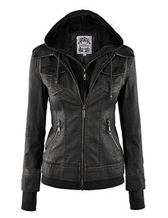 LL+WJC664+Womens+Faux+Leather+Jacket+with+Hoodie+M+BLACK