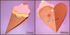 Great idea for a thank you card at an end of year ice cream party! Cone ice cream card that opens into a heart shape