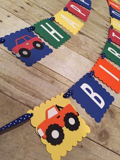 Car Truck & Train Happy Birthday Banner by BellsNBerries on Etsy