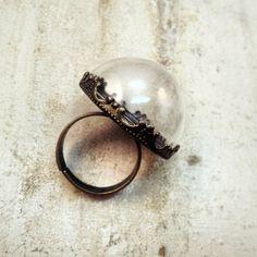 1 - Grande globo chiaro metà vetro bottiglia anello anello fai da te di bronzo antico terrario Base bottiglia anello speziale bottiglia gioi...