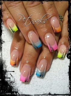 Nailart Französisch Sommer – gel nägel ideen, You can collect images you discovered organize them, add your own ideas to your collections and share with other people. French Tip Nail Designs, French Nail Art, French Tip Nails, Nailart French, French Gel, Nagellack Design, Fingernail Designs, Rainbow Nails, Rainbow Pastel