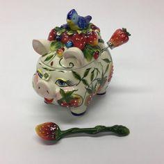 Blue Sky Clayworks J McCall 2004 Pig & Bluebird Strawberry Jam Jar Extra Spoon  | eBay