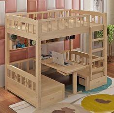 Room Design Bedroom, Girl Bedroom Designs, Room Ideas Bedroom, Home Room Design, Bedroom Decor, Kids Bed Design, Small Room Design, Modern Bunk Beds, Bunk Bed Designs