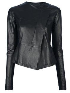 EMPORIO ARMANI - asymmetric lamb skin jacket 1