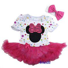 Minnie Mouse Zebra Polka Dots Leopard Rose Baby Dress Tutu jumpsuit Bow Headband