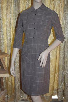 Vintage 40's L'Aiglon gray fitted dress M by velvetattic on Etsy