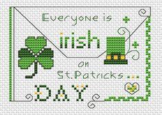 """Everyone is Irish on St.Patrick's Day "" Free Cross Stitch Pattern by www.alitadesigns.com"