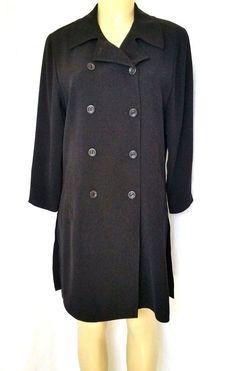 EMANUEL UNGARO Liberte Woman Black Double breasted Coat Jacket 10 Lined #EmanuelUngaro #BasicCoat #Any