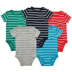 Carter's 5 Pack Boys Striped Pocket T Bodysuit Set- Newborn through 24 Months (Newborn) - BRAND NEW WITH TAGS BABY BOYS 5 PACK SHORT SLEEVE BODYSUITS!! Size Newborn 5-8 lbs. - Bodysuits - Baby - $17.90