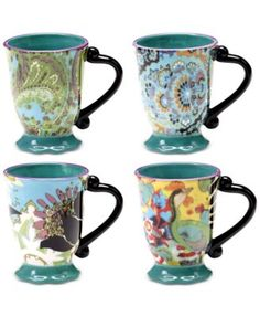 Tracy Porter Rose Boheme Set of 4 Mugs
