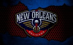 Download wallpapers New Orleans Pelicans, 4k, logo, NBA, basketball, Western Conference, USA, grunge, metal texture, Northwest Division