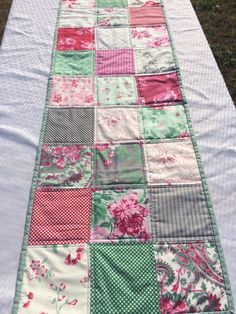 Spring Floral Table Runner Quilted Table Topper Patchwork Charming Colorful