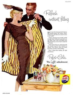 vintage Pepsi-Cola ad February 1956 via flickr  It seems like Pepsi people have good manners