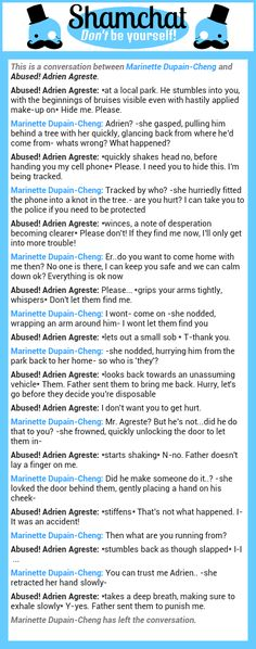 A conversation between Abused! Adrien Agreste and Marinette Dupain-Cheng
