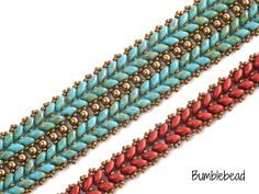 This pattern uses a modification of herringbone stitch to produce a lovely textural piece of beadwork, resembling knitting or little ears of