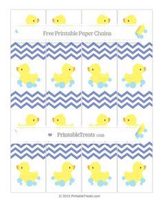 Pastel Dark Blue Chevron  Baby Duck Paper Chains