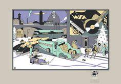 Reproduction sérigraphiée de 1987, d'une carte de voeux de 1977 pour le label WEA par Ever Meulen.