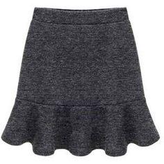 Yoins Plus Size Deep Grey Flouncing Mini Skirt-Grey... (71 BRL) ❤ liked on Polyvore featuring skirts, mini skirts, grey, plus size bottoms skirts, gray mini skirt, short flared skirts, ruffle mini skirt, grey skirt et flare skirt