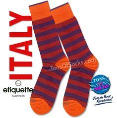 #menssocks #italiansocks Purple & Red #Rugby Stripe #socks