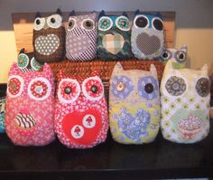 up cycled owl cushions