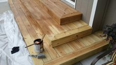 Treated wood stairs.  Wide treads.