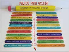 A way to always have on hand a varied assortment of writing instructions and . - One way to always have a varied assortment of writing prompts on hand is this: writing sticks. Bilingual Classroom, Bilingual Education, Spanish Classroom, Teaching Spanish, Kids Education, Teaching English, Spanish Grammar, Writing Activities, Classroom Activities