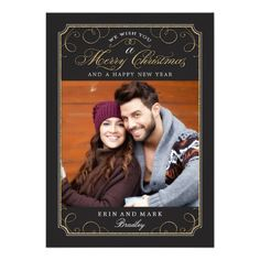 Classic Scroll Christmas Card / Holiday Photo Card Personalized Invite