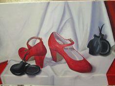 Bodegón de zapatos, al óleo