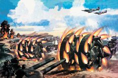 Comprising a pair of 10-foot wheels connected by a drum axle packed with 2 tons of TNT, the rocket-propelled Great Panjandrum would launch from landing craft and blast holes into German shore defenses—in theory anyway. (Conceptual illustration by Wilf Hardy/©Look and Learn/The Bridgeman Art Library)