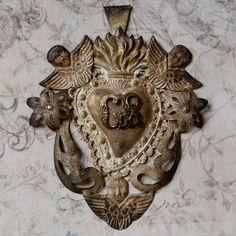Vintage Silver Ex Voto Sacred Heart. $110.00, via Etsy.