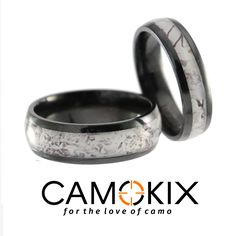 Awesome Check out these snow camo rings his and hers set in black zirconium