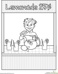 Color The Lemonade Stand Learning PlaceLife LearningColoring Sheets