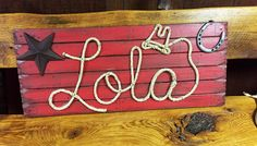 LOLA : 36 Western Rope Name Sign Cowboy Theme Room by RopeAndStyle Colored Rope, Cowboy Theme, Western Parties, Stage Set, Name Signs, Shower Gifts, Photo Props, 2nd Birthday, Playroom