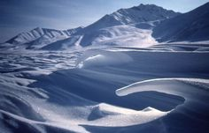Curved, wind-blown snow formations form on a flat snow field in front of mountains. - Wilderness:Gates of the Arctic Wilderness
