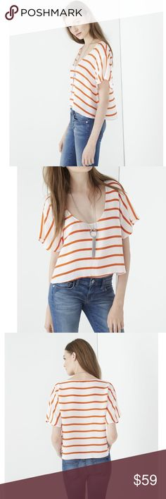 REBECCA MINKOFF AUDRINA TOP SOLD OUT IN STORES This striped crop-top can be easily dressed up or down. The flowy sleeves add a boho-inspired touch. ORANGE AND WHITE. RETAIL $178 NWT Rebecca Minkoff Tops Crop Tops