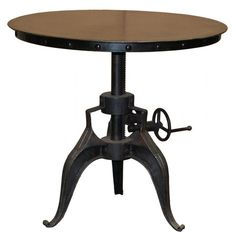 These retro industrial round tables are made of solid iron. Rivet detailing and a crank pedestal are reminiscent of the industrial age. Reclaimed for a new generation. These eco-friendly pieces are all made from recycled iron that has been reclaimed from old factory parts and ships. While the styling of each item remains the same, the old iron gives every piece its own unique characteristics.(http://www.zinhome.com/eisen-industrial-crank-table-30-black/)