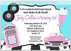 Retro 50's theme party invitations. Can be used for a birthday party or any type of 50's event. PRODUCT INFORMATION: Card Type: Flat CardSize: Approx. 5 x 7