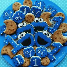 Cookie Monster 1st Birthday Cookies made by Frost Me Beautiful