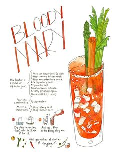 Bloody Mary Print by Marcella Art & Illustration. Illustrated recipe of a delicious Bloody Mary recipe, including ingredients and preparation. Cocktail Drinks, Cocktail Recipes, Wine Recipes, Cocktail Book, Champaign Cocktails, Cheap Recipes, Juice Drinks, Summer Cocktails, Drink Bar