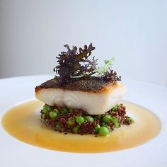Black Cod on Pork Stock Braised Quinoa and Sweet Peas with Bacon Dashi