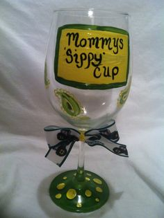 Hand painted wine glass,Painted Wine Glass, Wine Glass,  Mommy's sippy cup, John Deere themed glass, Mommy's Sippy Cup Glass