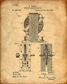 Tesla Digital Art - Nikola Tesla Electro Magnetic Motor Patent Drawing From 1889 - V by Aged Pixel Nikola Tesla Inventions, Nikola Tesla Patents, Nicola Tesla, Tesla Coil, Magnetic Motor, Tesla Motors, Patent Drawing, E Mc2, Patent Prints
