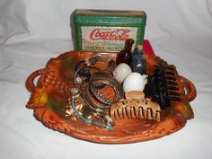 Junk Drawer Misc Grab Bag Trinkets Treasure Trove Jewelry Earrings Coca-Cola Tin