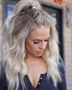 Top braid and pony with waves