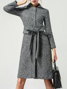 Shop Coats - Light Gray Shift Buttoned Elegant Plain Coat online. Discover unique designers fashion at StyleWe.com.